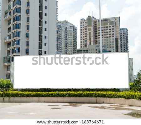 Blank billboard with copy space ready for design in the city. - stock photo