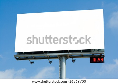Blank billboard with digital clock against blue sky during afternoon rush hour - stock photo