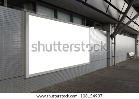Blank billboard with empty copy space (path in the image) on the street