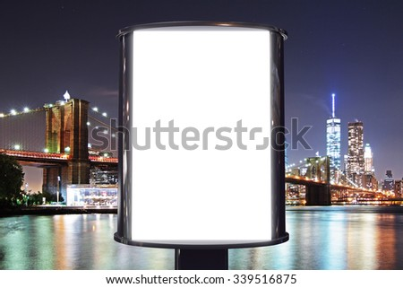 Blank billboard with night city view background, mock up - stock photo