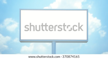 Blank billboard with space for your advertisement against blue sky. 3d render - stock photo