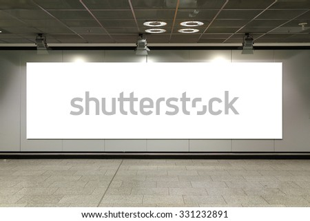 blank billboard  with white copy space on the underground - stock photo