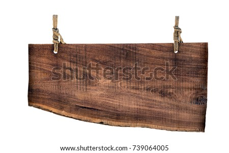 blank billboard wooden on a rope isolated on white background