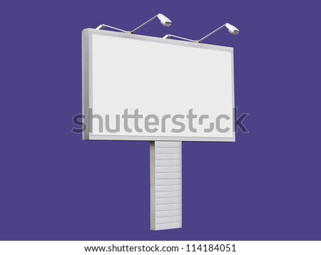Blank billboard 3x6 meters white color on violet background - stock photo