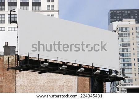 Blank billboards in urban setting. - stock photo