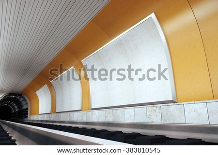 Blank billboards on orange wall in subway, mock up, 3D render - stock photo