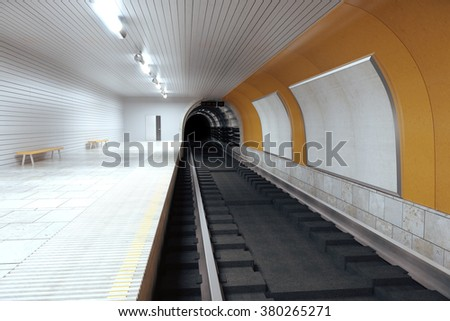 Blank billboards on subway wall and empty hall, mock up 3D Render - stock photo