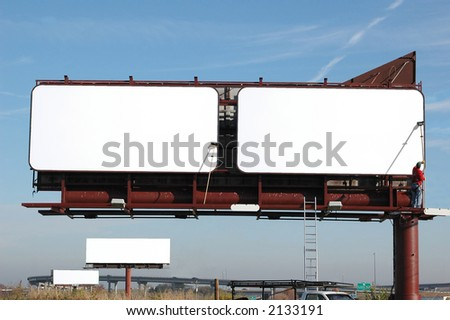Blank Billboards with blue sky-add your text - stock photo