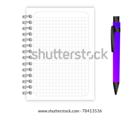 blank Binder rings grid with violet pen over white background - stock photo