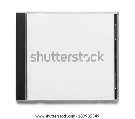 Blank Black and White CD Case Top View Isolated on White Background.