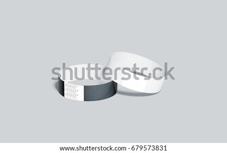 blank black and white paper wristbands mockups 3d rendering empty event wrist bands design