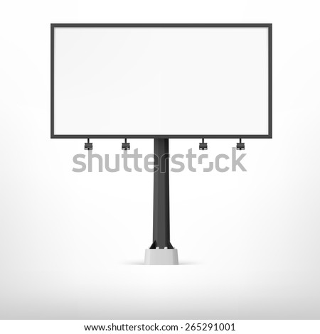 Blank black billboard,  illustration. Template for your design.