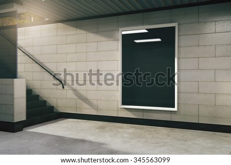 Blank black billboard in empty subway hall, mock up 3D Render - stock photo