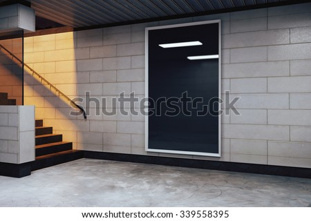 Blank black billboard in subway, mock up 3D Render - stock photo