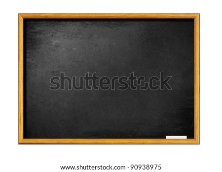 blank black board with wooden frame - stock photo