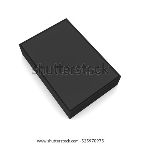 Blank black box isolated on white background. 3d illustration