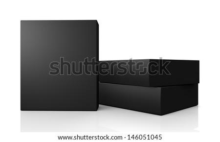 blank black boxes isolated on white background  - stock photo
