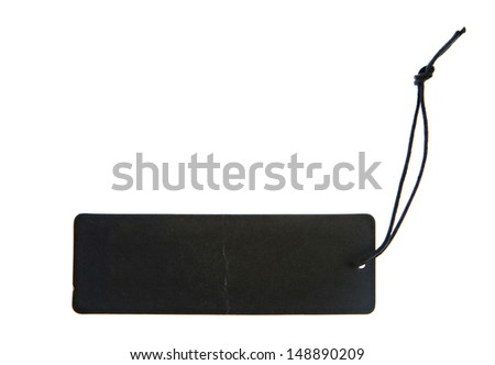 Blank black cardboard paper labels or tag - stock photo