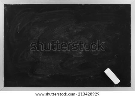 Blank black chalkboard - stock photo