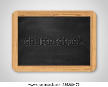 Blank black chalkboard. Background and texture. School board on gray background - stock photo