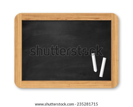 Blank black chalkboard with piece of chalk. Background and texture. School board on gray background - stock photo