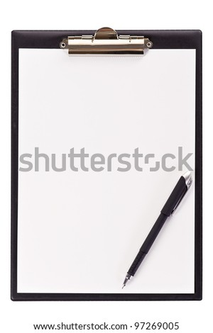 blank black clipboard with a pen isolated on white background - stock photo