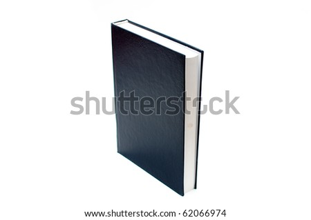 Blank black cover book over a white background