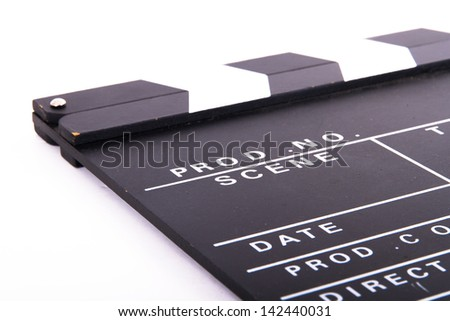 Blank black film clapper board, isolated on white background. - stock photo