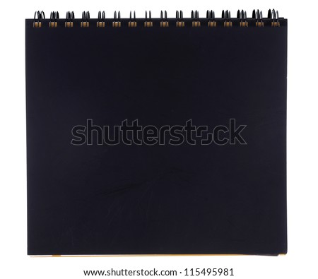 Blank black notebook isolated on white background - stock photo