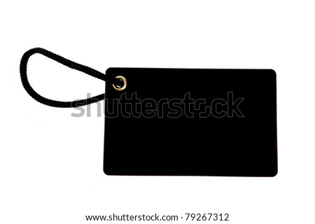 blank black paper tag isolated on white background - stock photo