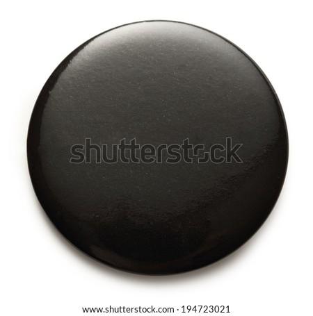 Blank black round badge on white background - stock photo