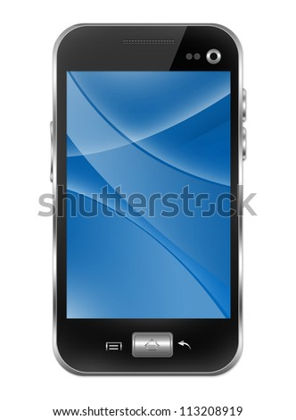 Blank Black Smart Phone With Blue and Curve Line in The Screen Isolated on White Background