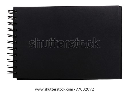 blank black spiral notebook isolated on white background