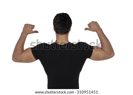 blank black t-shirt on man isolated on white background - stock photo