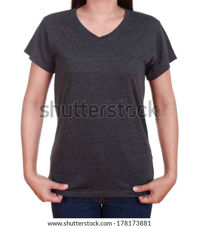 blank black t-shirt on woman isolated on white background - stock photo