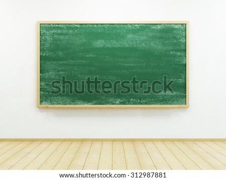 blank blackboard on the wall - stock photo