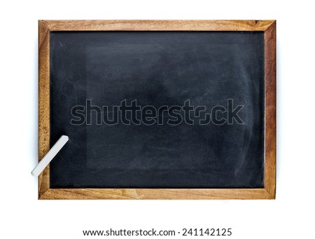 Blank blackboard with a white chalk