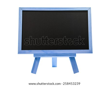 Blank blackboard with blue wood frame isolated on white