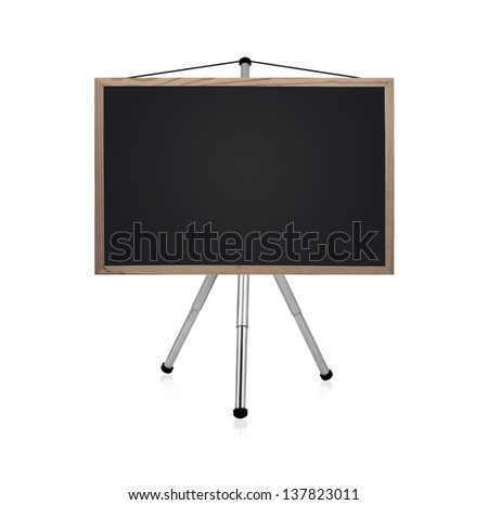 blank blackboard with tripod on a white background
