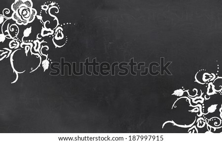 Blank Blackboard with Vintage Floral Pattern Drawing in Chalk - stock photo