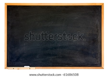 blank blackboard, wooden frame, chalk - empty chalkboard  isolated, clipping path - stock photo