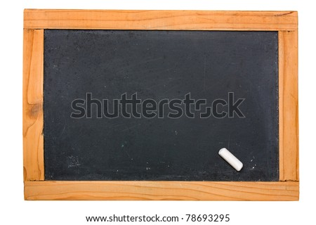 blank blackboard, wooden frame, chalk - small empty chalkboard  isolated, clipping path - stock photo