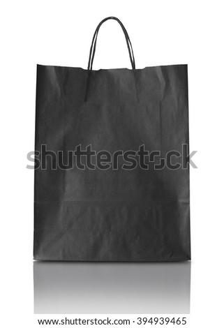 Blank blak paper bag isolated on white background - stock photo