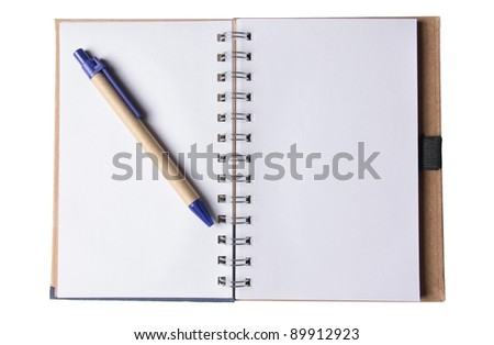 Blank block notes on white with pen - stock photo
