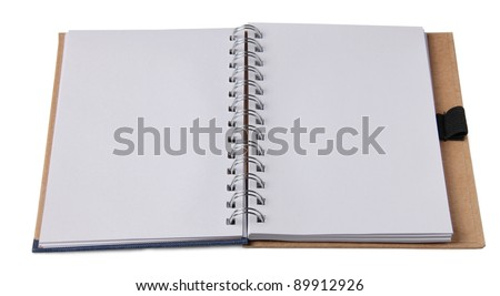 Blank blocknotes on white with pen - stock photo