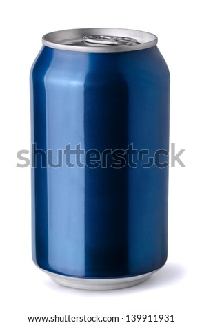 Blank blue aluminum soda can isolated on white