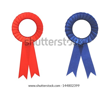 blank blue and red award badge with ribbon - stock photo