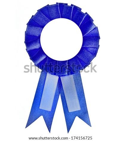 Blank blue award winning ribbon rosette isolated on White Background - stock photo