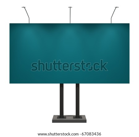 Blank blue billboard, isolated on white, with clipping path - stock photo