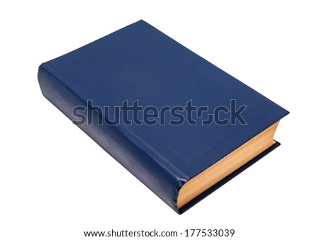 Blank blue book cover ready for text isolated on white background - stock photo
